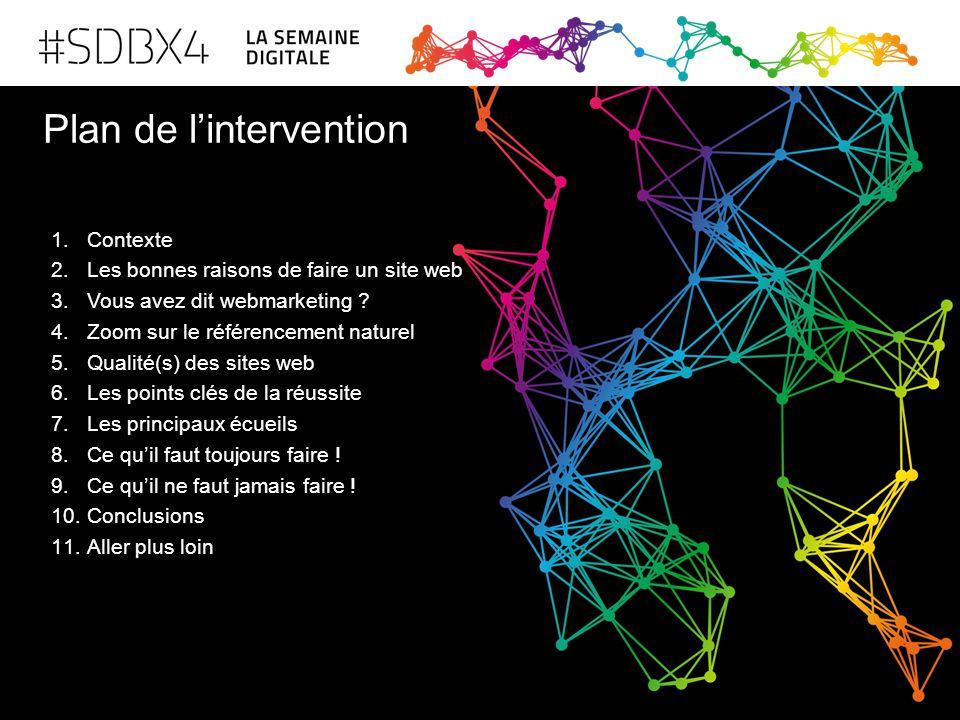 Plan de l'intervention 1.Contexte 2.Les bonnes raisons de faire un site web 3.Vous avez dit webmarketing ? 4.Zoom sur le référencement naturel 5.Quali