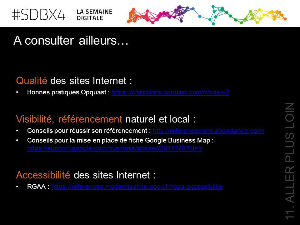 11. ALLER PLUS LOIN Qualité des sites Internet : Bonnes pratiques Opquast : https://checklists.opquast.com/fr/oqs-v2https://checklists.opquast.com/fr/