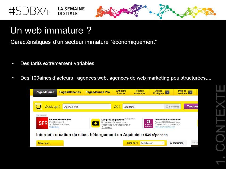 Un web immature ? Des tarifs extrêmement variables Des 100aines d'acteurs : agences web, agences de web marketing peu structurées,,,, Caractéristiques