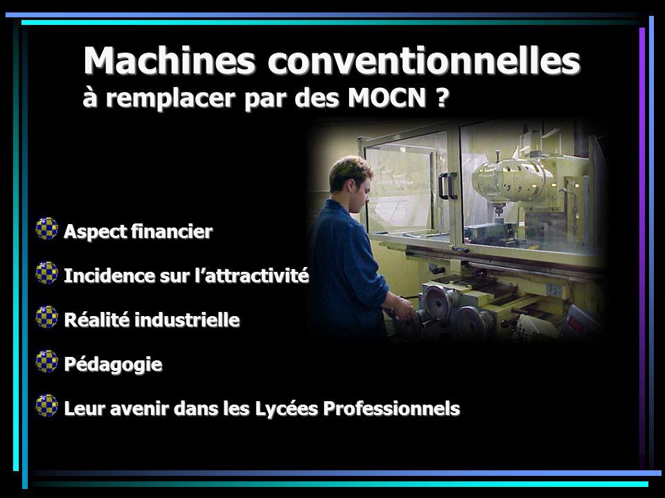 Machines conventionnelles à remplacer par des MOCN ? Aspect financier Incidence sur l'attractivité Réalité industrielle Pédagogie Leur avenir dans les