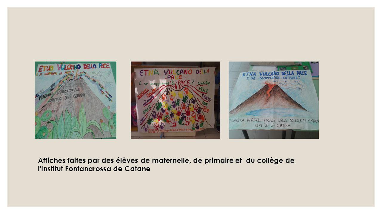 Affiches faites par des élèves de maternelle, de primaire et du collège de l Institut Fontanarossa de Catane