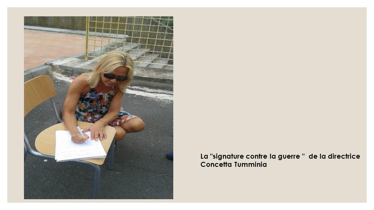 La signature contre la guerre de la directrice Concetta Tumminia