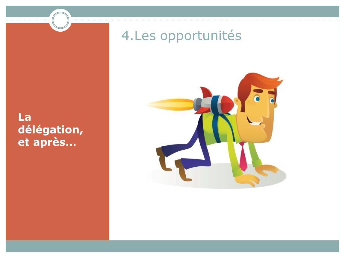 4.Les opportunités La délégation, et après…