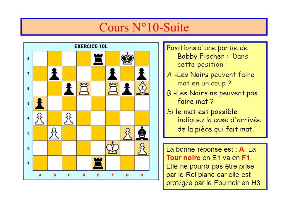 Cours N°10-Suite Positions d'une partie de Bobby Fischer : Dans cette position : A -Les Noirs peuvent faire mat en un coup ? B -Les Noirs ne peuvent p