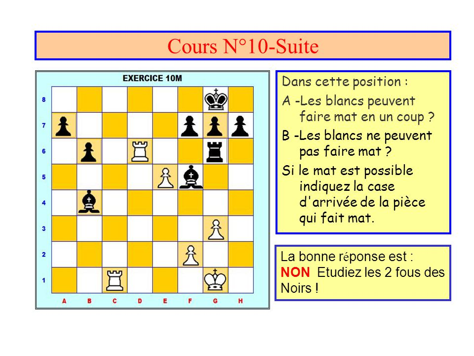 Cours N°10-Suite Dans cette position : A -Les blancs peuvent faire mat en un coup ? B -Les blancs ne peuvent pas faire mat ? Si le mat est possible in