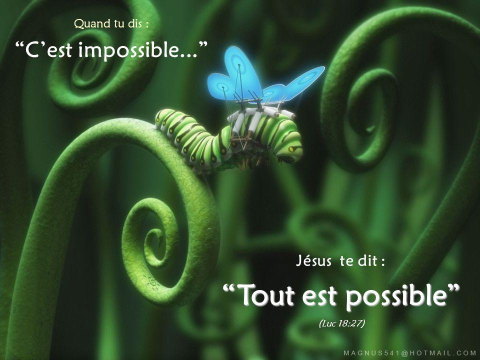 Quand tu dis : C'est impossible... Jésus te dit : Tout est possible (Luc 18:27)