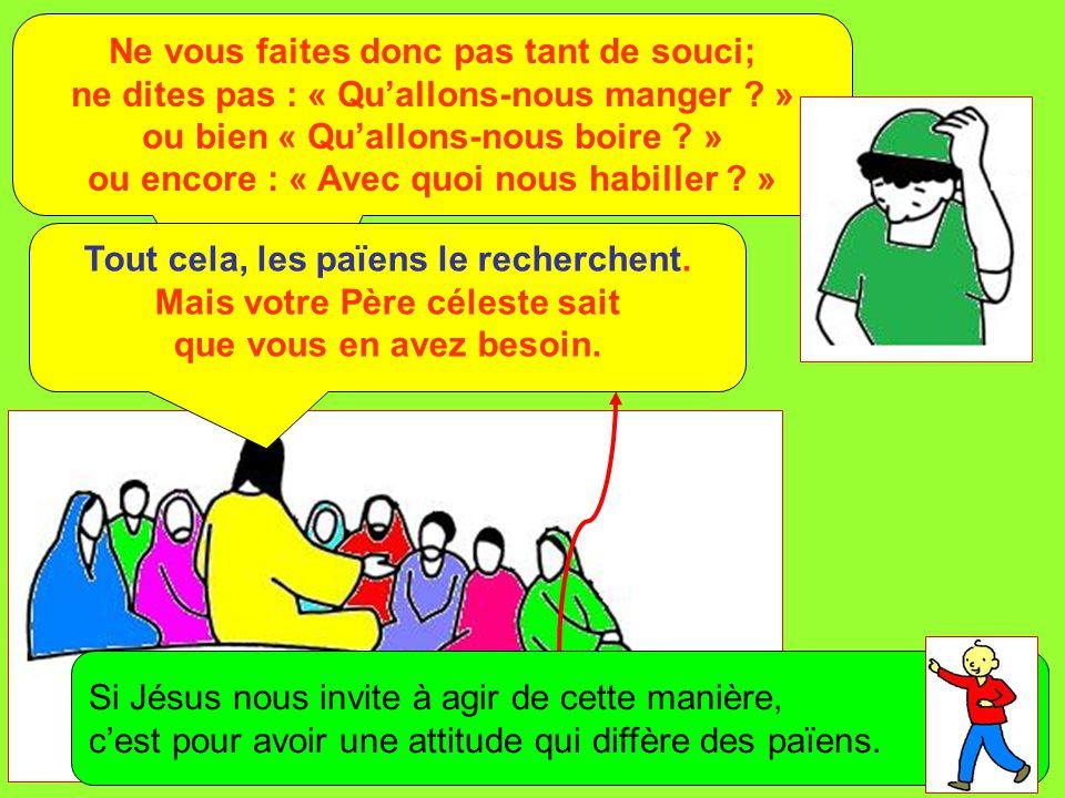 Extrait de « Mille images d'Évangile » de Jean François KIEFFER (Presse d'Île de France) Ne vous faites donc pas tant de souci; ne dites pas : « Qu'al