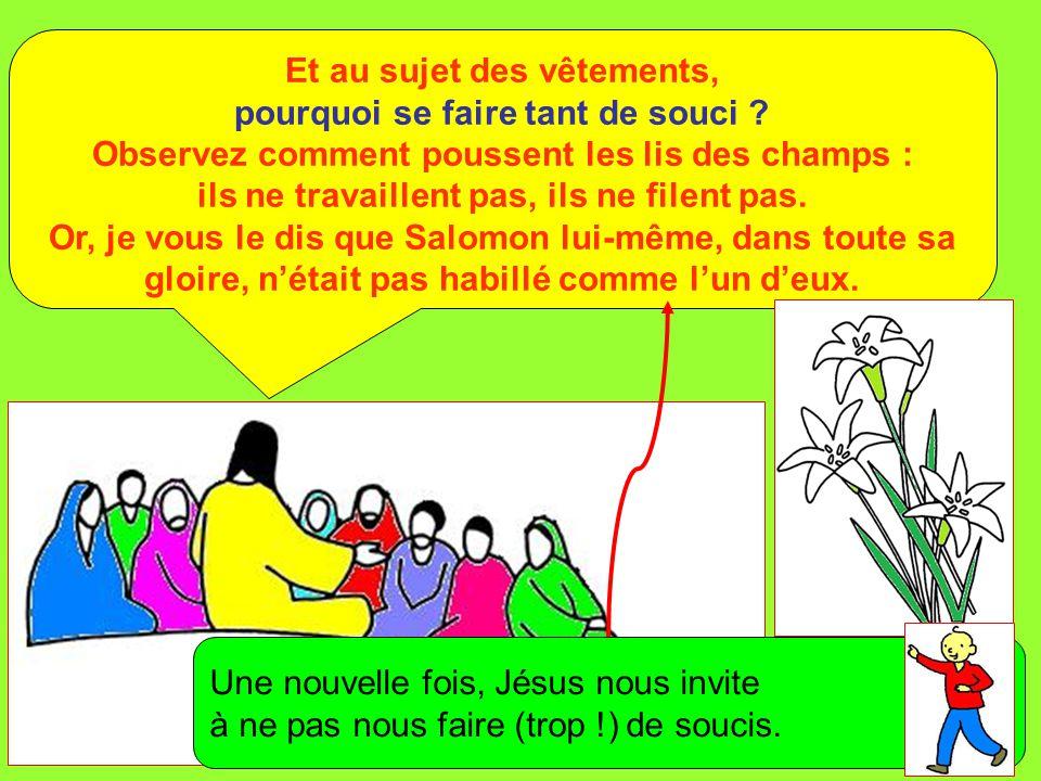 Extrait de « Mille images d'Évangile » de Jean François KIEFFER (Presse d'Île de France) Si Dieu habille ainsi l'herbe des champs, qui est là aujourd'hui, et qui demain sera jetée au feu, ne fera-t-il pas bien davantage pour vous, hommes de peu de foi .