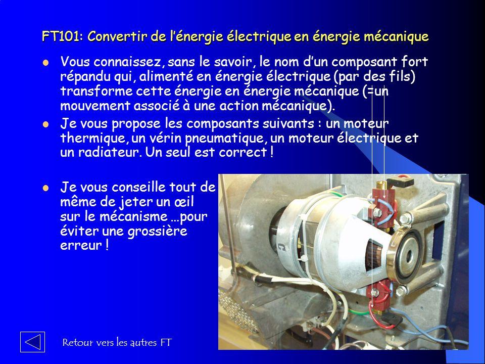 … et FC5 (suite des Fonctions Techniques) FT 51 : prémunir l'utilisateur des risques électriques FT 52 : isoler l'utilisateur des éléments à haute température (c'est à dire supérieure à 40° c) Vers travail 2