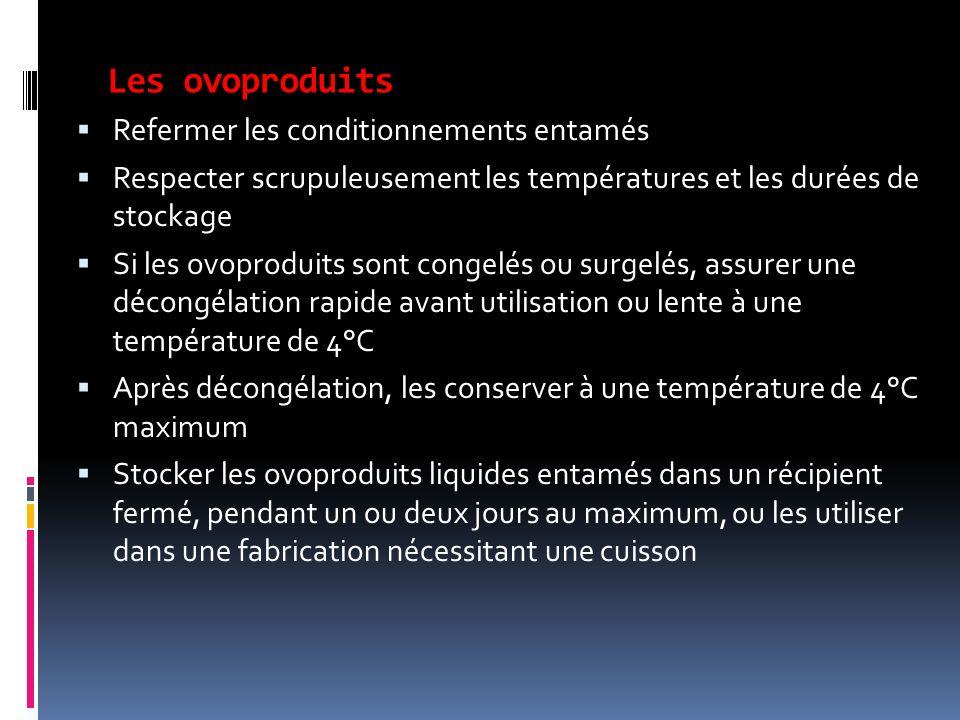 Les ovoproduits  Refermer les conditionnements entamés  Respecter scrupuleusement les températures et les durées de stockage  Si les ovoproduits so
