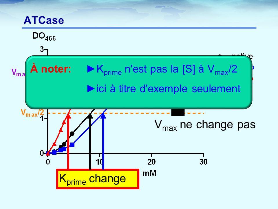ATCase V max ne change pas K prime change +CTP +ATP À noter:►K prime n'est pas la [S] à V max /2 ►ici à titre d'exemple seulement