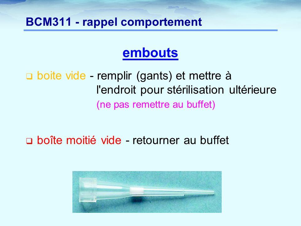BCM311 - rappel comportement embouts  boite vide  boîte moitié vide - retourner au buffet - remplir (gants) et mettre à l'endroit pour stérilisation