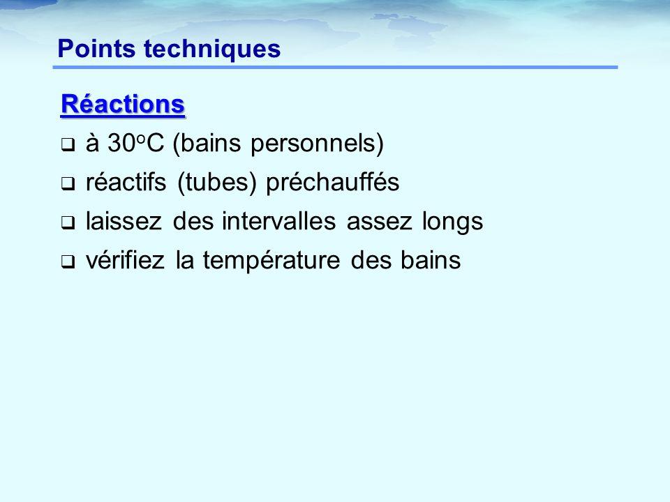 Réactions  à 30 o C (bains personnels)  réactifs (tubes) préchauffés  laissez des intervalles assez longs  vérifiez la température des bains Point