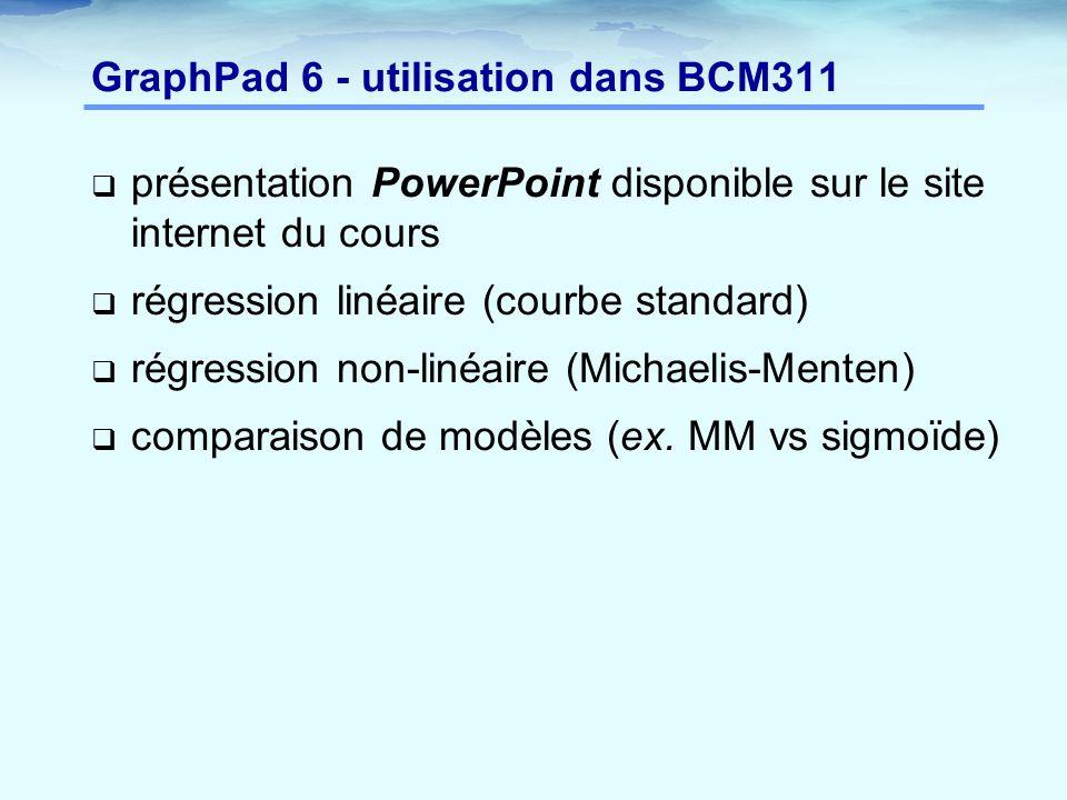 GraphPad 6 - utilisation dans BCM311  présentation PowerPoint disponible sur le site internet du cours  régression linéaire (courbe standard)  régr
