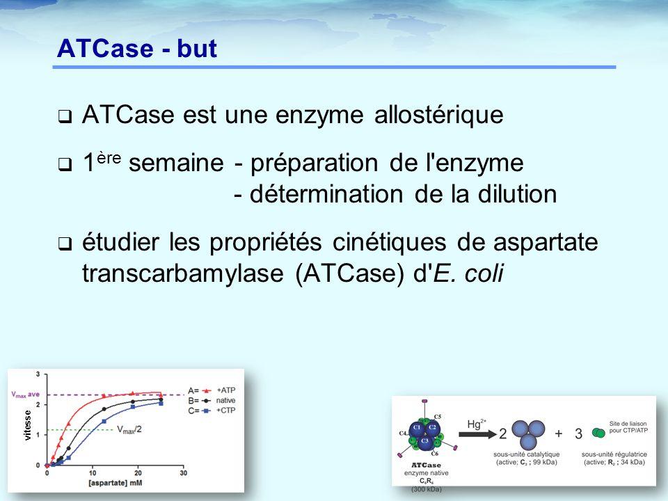 ATCase - but  ATCase est une enzyme allostérique  1 ère semaine - préparation de l'enzyme - détermination de la dilution  étudier les propriétés ci