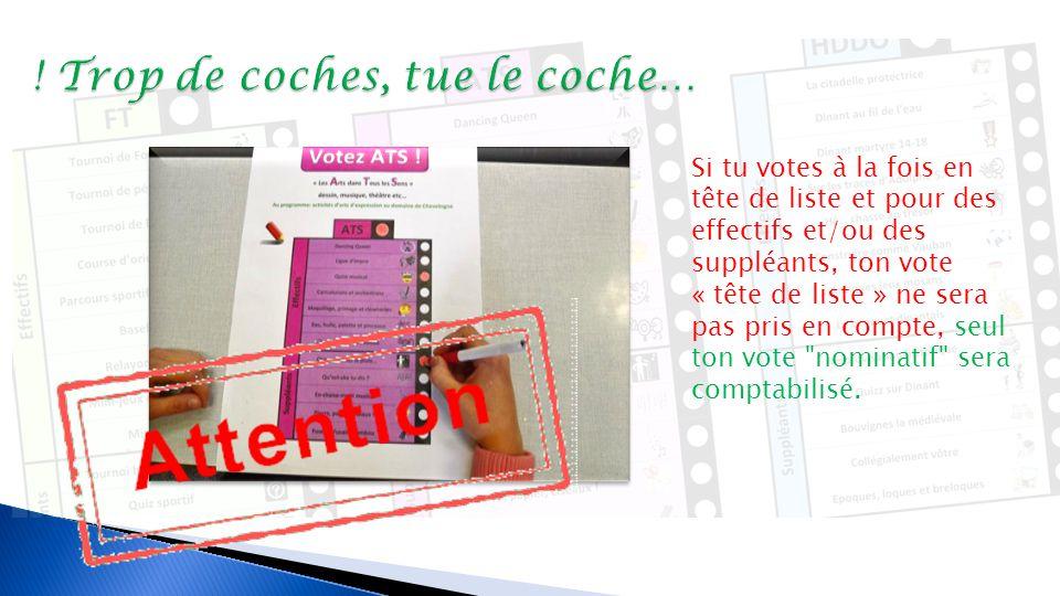 Vote « nominatif », pour un ou plusieurs « candidat(s) » effectif(s) et/ou suppléant(s)