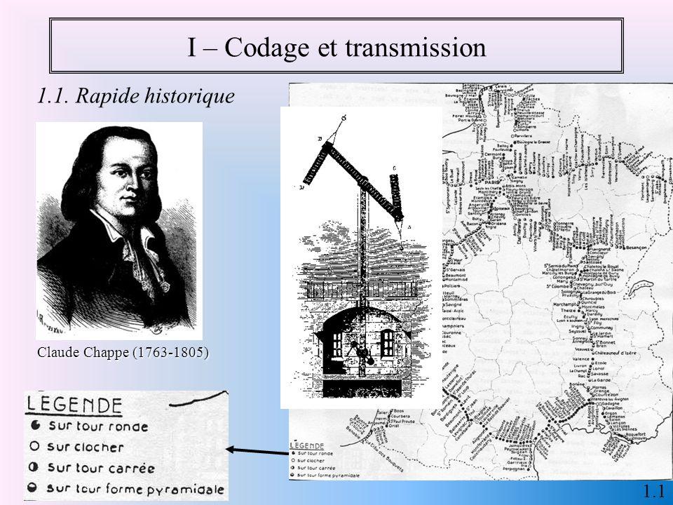 I – Codage et transmission 1.1 Claude Chappe (1763-1805) 1.1. Rapide historique