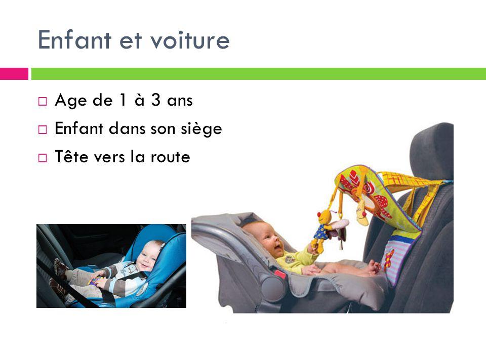 Enfant et voiture  Age de 1 à 3 ans  Enfant dans son siège  Tête vers la route
