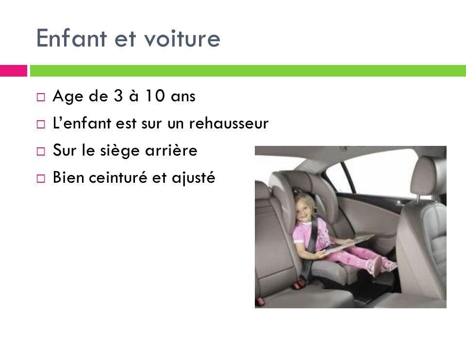 Enfant et voiture  Age de 3 à 10 ans  L'enfant est sur un rehausseur  Sur le siège arrière  Bien ceinturé et ajusté