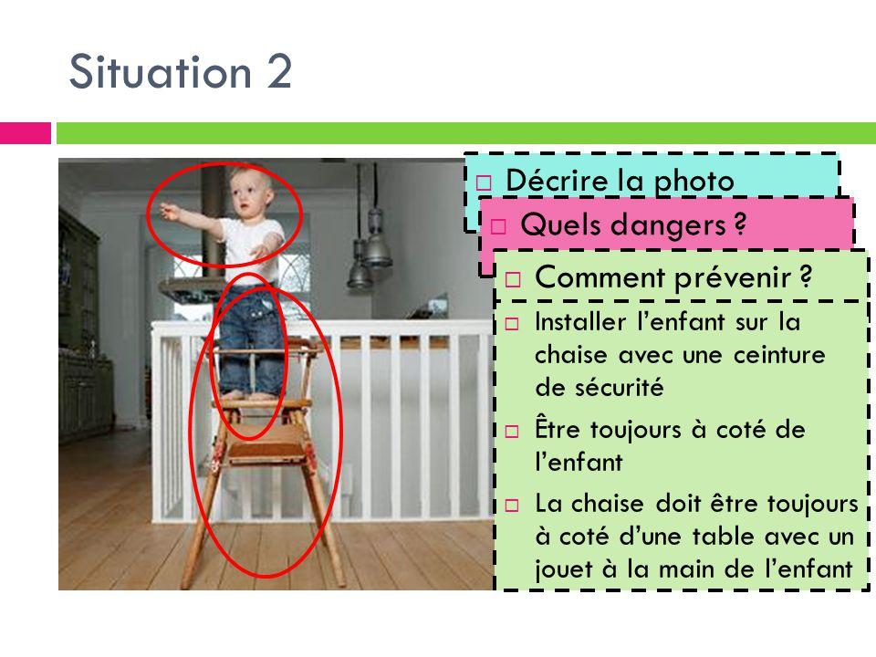 Situation 2  Décrire la photo  Quels dangers ?  Comment prévenir ?  Installer l'enfant sur la chaise avec une ceinture de sécurité  Être toujours