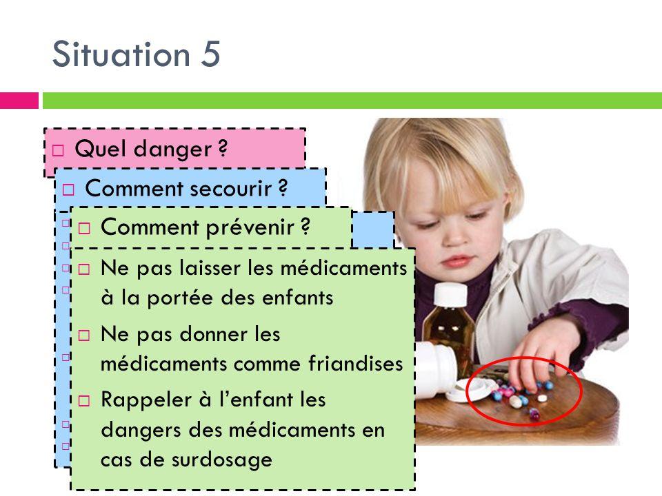 Situation 5  Quel danger ?  Comment secourir ?  Garder son calme  Eloigner l'enfant  Le calmer et l'examiner  Vérifier  Le type de médicament 
