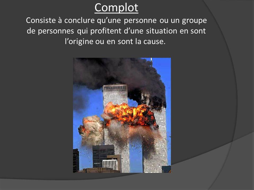 Complot Consiste à conclure qu'une personne ou un groupe de personnes qui profitent d'une situation en sont l'origine ou en sont la cause.