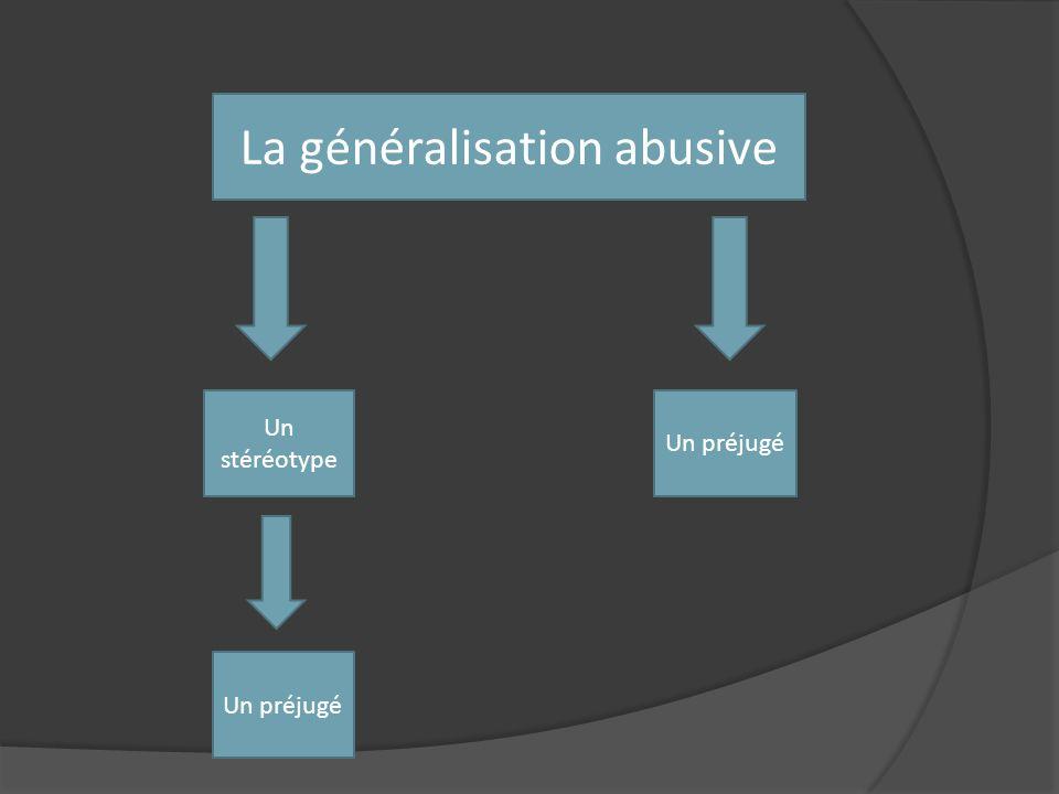 La généralisation abusive Un stéréotype Un préjugé