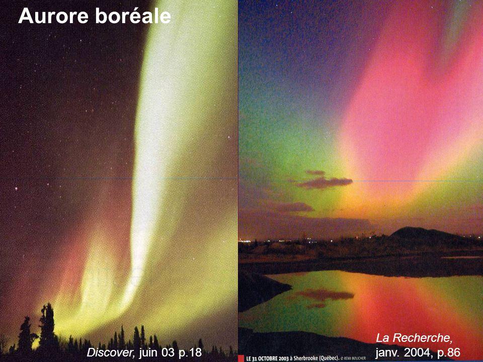 Aurore boréale Discover, juin 03 p.18 La Recherche, janv. 2004, p.86
