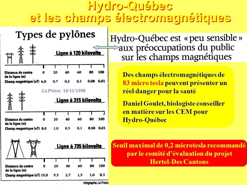 Hydro-Québec et les champs électromagnétiques La Presse, 16/11/1998 Des champs électromagnétiques de 83 micro tesla peuvent présenter un réel danger p