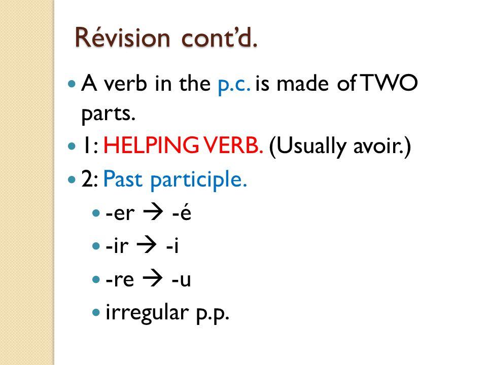 Avec être.MAIS. BUT. Some verbs use être as the helping verb.