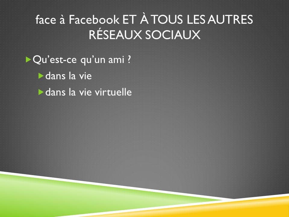 face à Facebook ET À TOUS LES AUTRES RÉSEAUX SOCIAUX  Qu'est-ce qu'un ami .