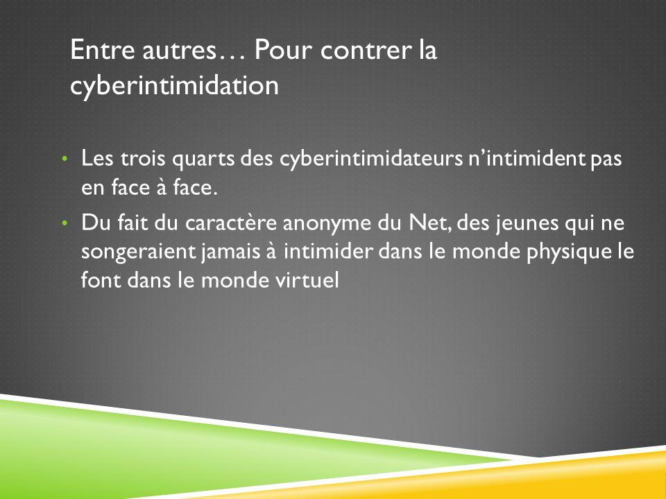 Entre autres… Pour contrer la cyberintimidation Les trois quarts des cyberintimidateurs n'intimident pas en face à face.