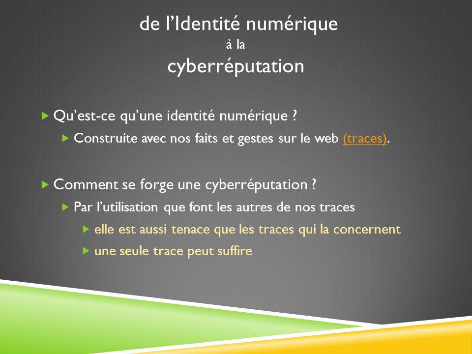 de l'Identité numérique à la cyberréputation  Qu'est-ce qu'une identité numérique .