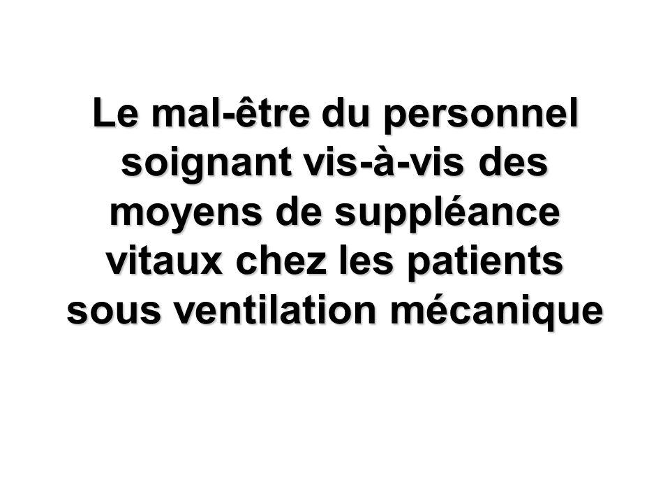 Le mal-être du personnel soignant vis-à-vis des moyens de suppléance vitaux chez les patients sous ventilation mécanique