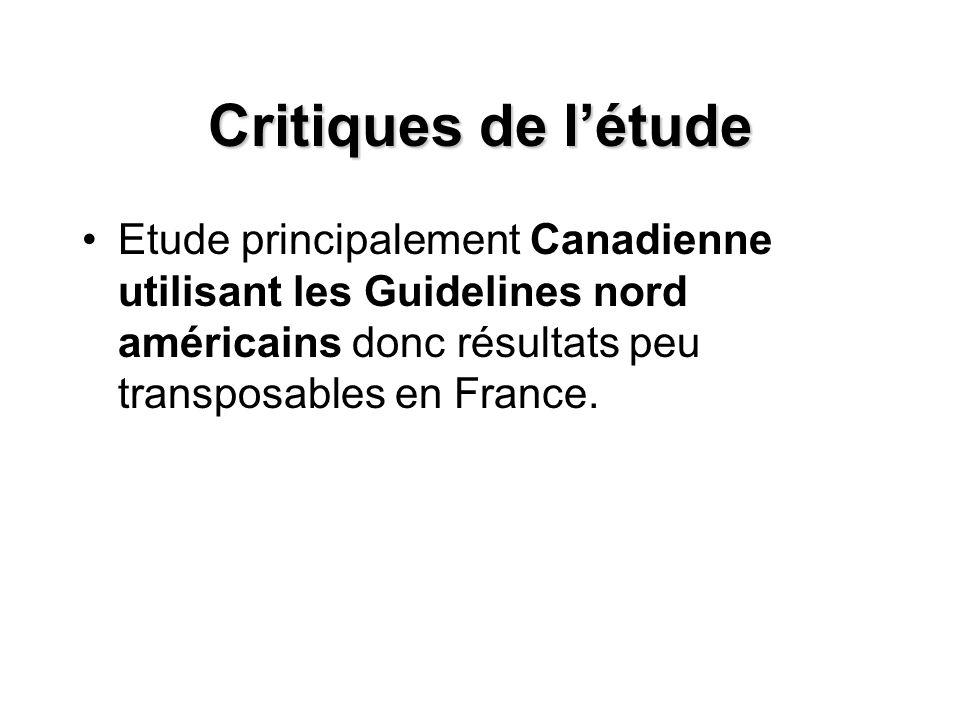 Critiques de l'étude Etude principalement Canadienne utilisant les Guidelines nord américains donc résultats peu transposables en France.