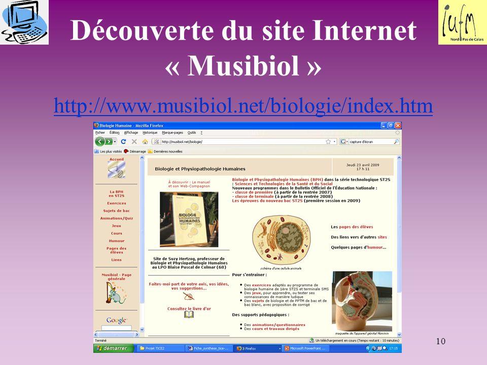 10 Découverte du site Internet « Musibiol » http://www.musibiol.net/biologie/index.htm