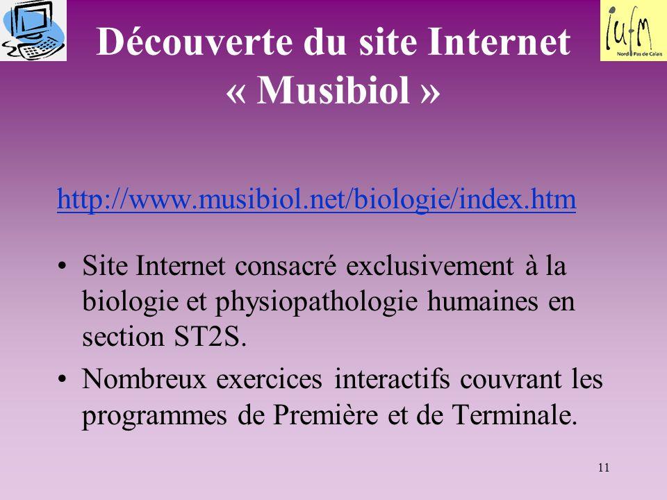 11 Découverte du site Internet « Musibiol » http://www.musibiol.net/biologie/index.htm Site Internet consacré exclusivement à la biologie et physiopathologie humaines en section ST2S.