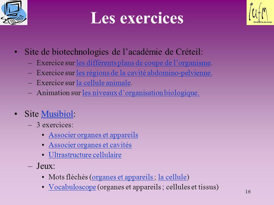 16 Les exercices Site de biotechnologies de l'académie de Créteil: –Exercice sur les différents plans de coupe de l'organisme.les différents plans de
