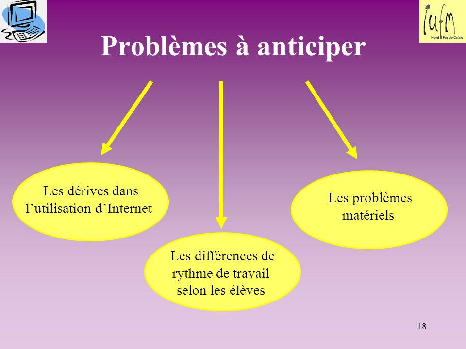 18 Problèmes à anticiper Les dérives dans l'utilisation d'Internet Les différences de rythme de travail selon les élèves Les problèmes matériels