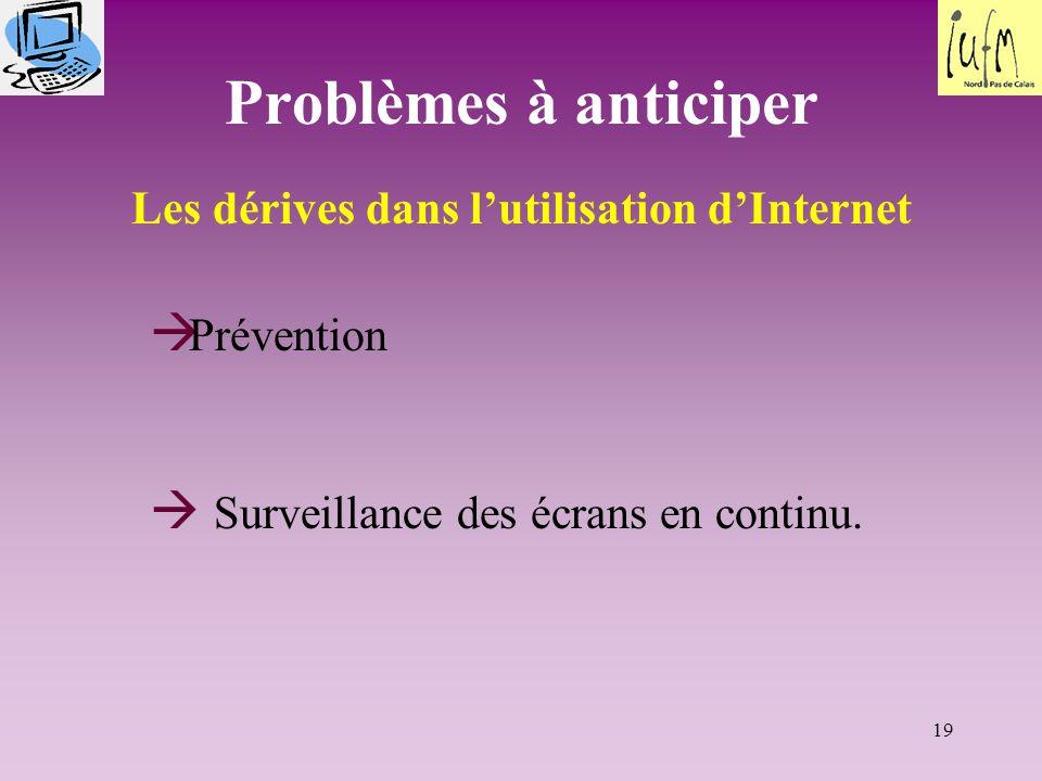 19 Problèmes à anticiper Les dérives dans l'utilisation d'Internet  Prévention  Surveillance des écrans en continu.