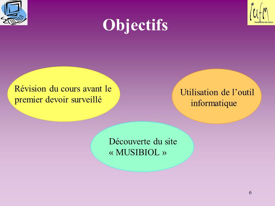 6 Objectifs Révision du cours avant le premier devoir surveillé Découverte du site « MUSIBIOL » Utilisation de l'outil informatique