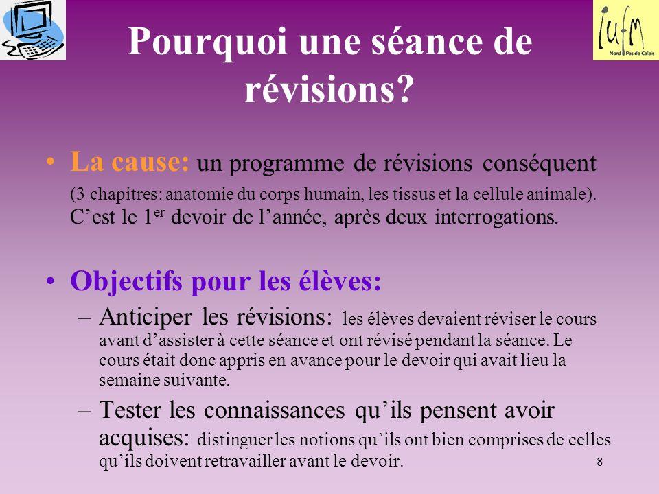 8 Pourquoi une séance de révisions? La cause: un programme de révisions conséquent (3 chapitres: anatomie du corps humain, les tissus et la cellule an