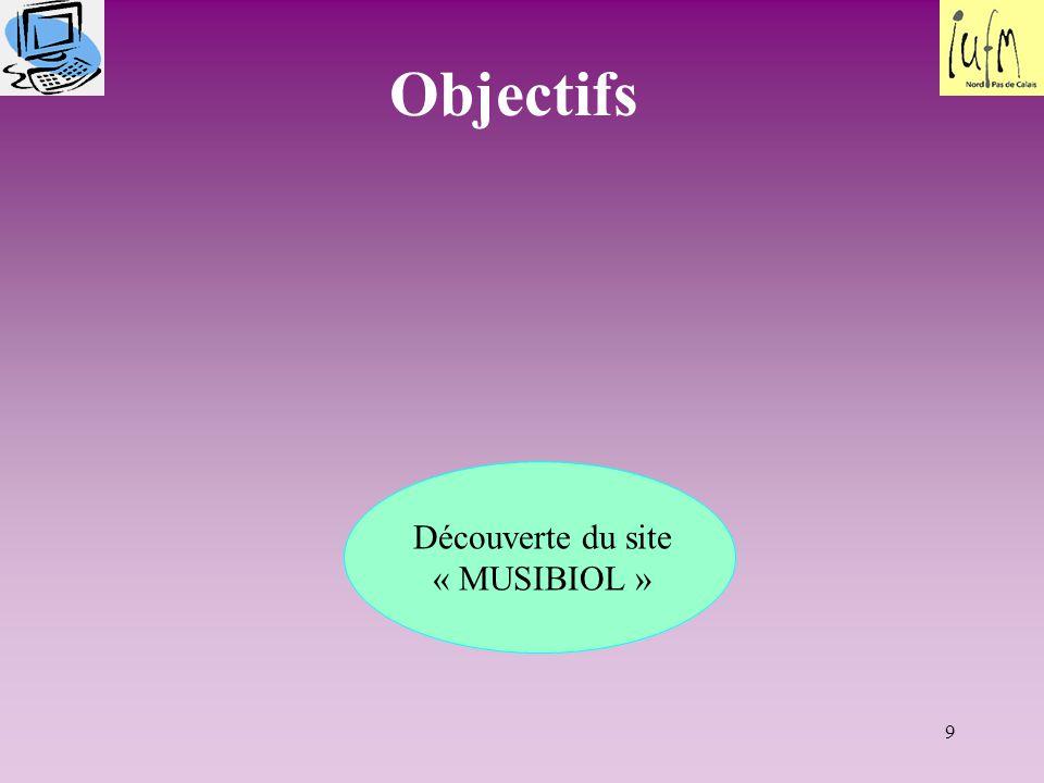 9 Objectifs Découverte du site « MUSIBIOL »