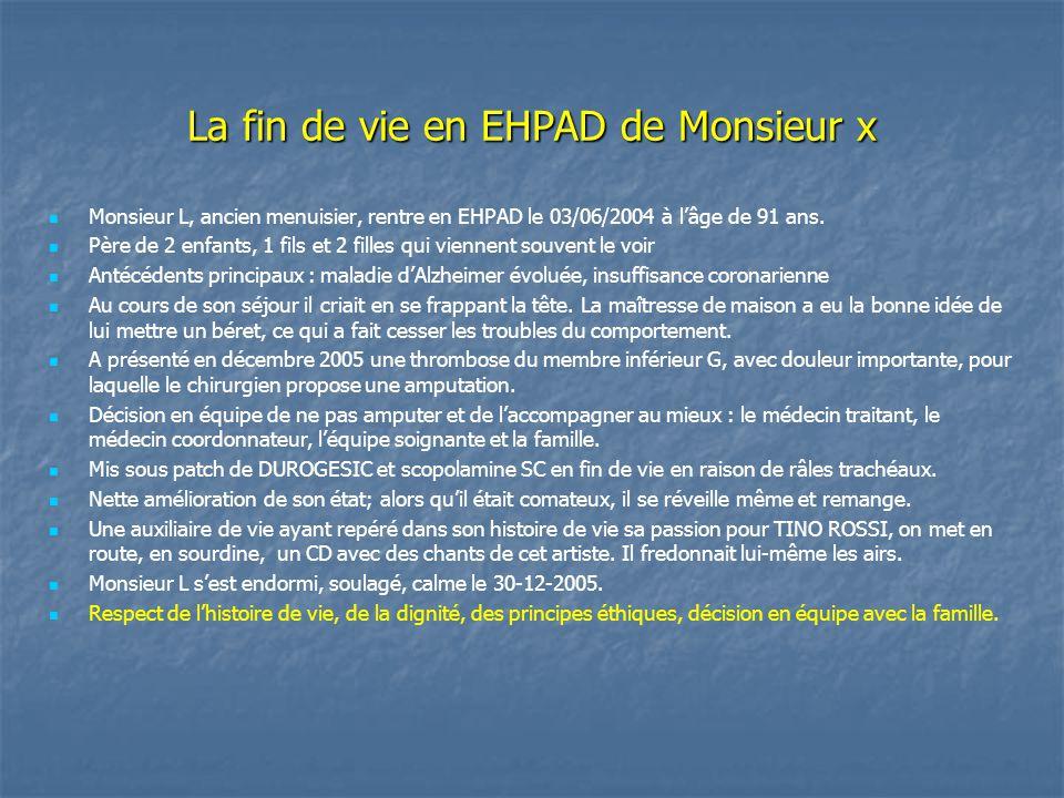 La fin de vie en EHPAD de Monsieur x Monsieur L, ancien menuisier, rentre en EHPAD le 03/06/2004 à l'âge de 91 ans. Père de 2 enfants, 1 fils et 2 fil