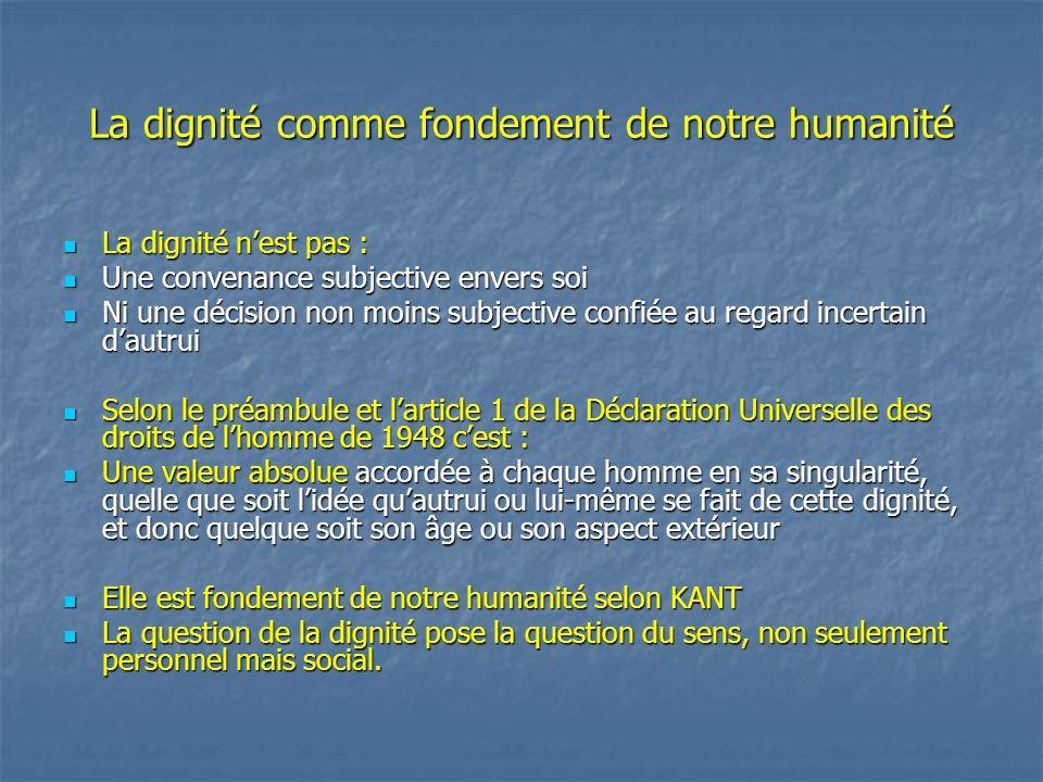 La dignité comme fondement de notre humanité La dignité n'est pas : La dignité n'est pas : Une convenance subjective envers soi Une convenance subject