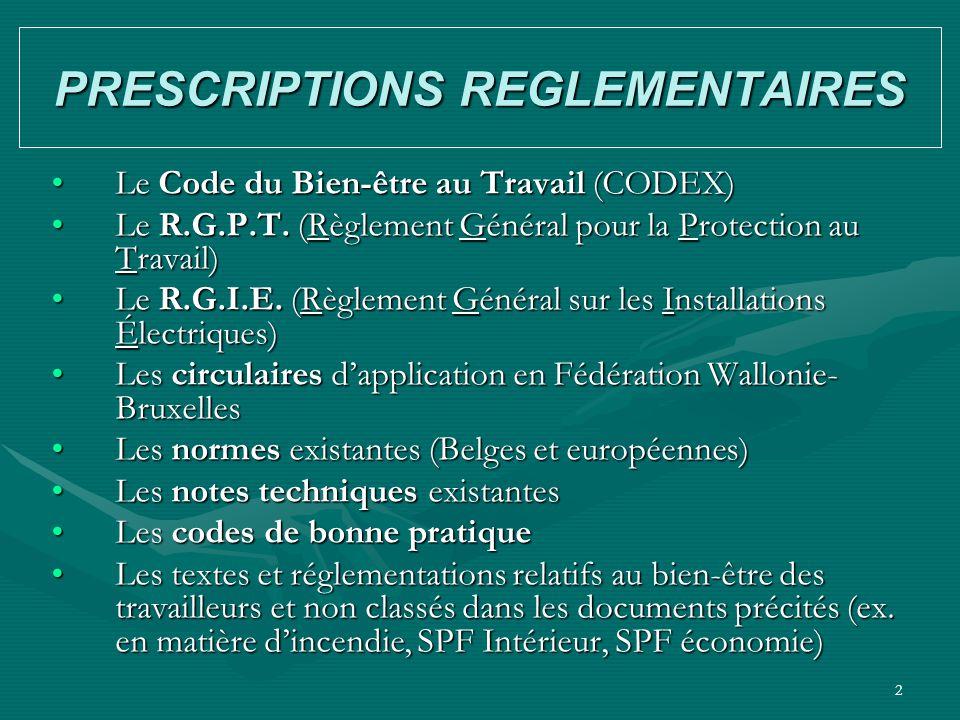 2 PRESCRIPTIONS REGLEMENTAIRES Le Code du Bien-être au Travail (CODEX)Le Code du Bien-être au Travail (CODEX) Le R.G.P.T. (Règlement Général pour la P