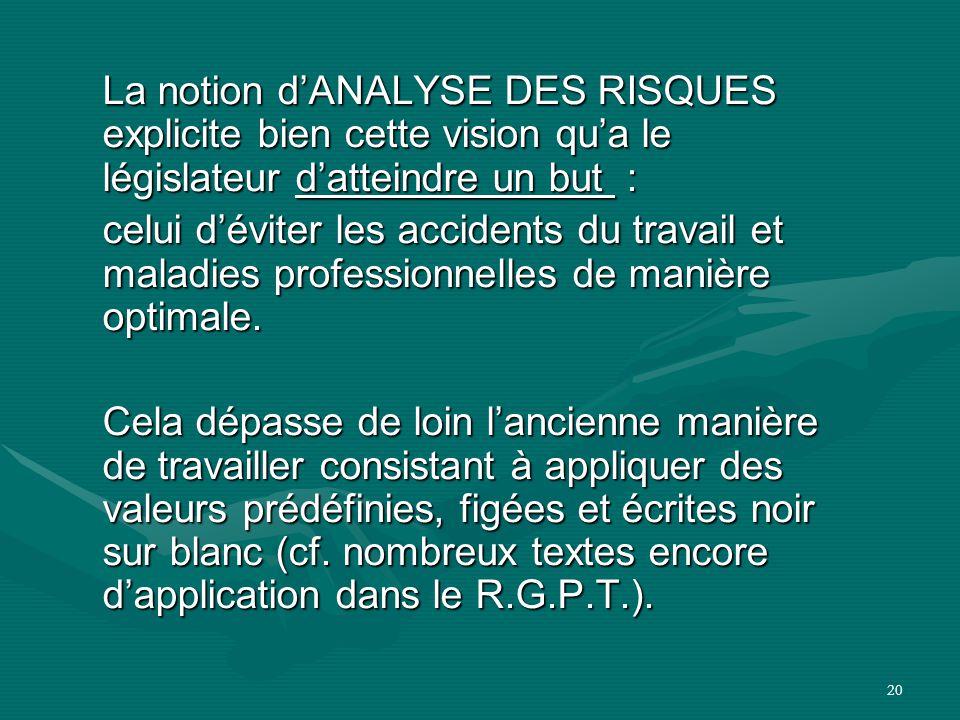 20 La notion d'ANALYSE DES RISQUES explicite bien cette vision qu'a le législateur d'atteindre un but : celui d'éviter les accidents du travail et mal
