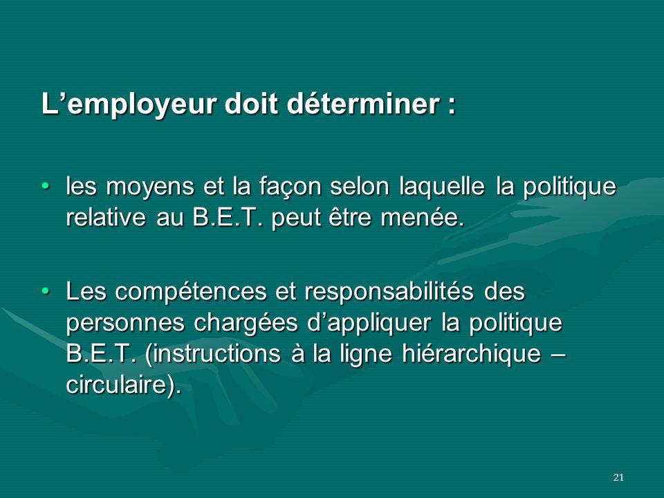 21 L'employeur doit déterminer : les moyens et la façon selon laquelle la politique relative au B.E.T. peut être menée.les moyens et la façon selon la