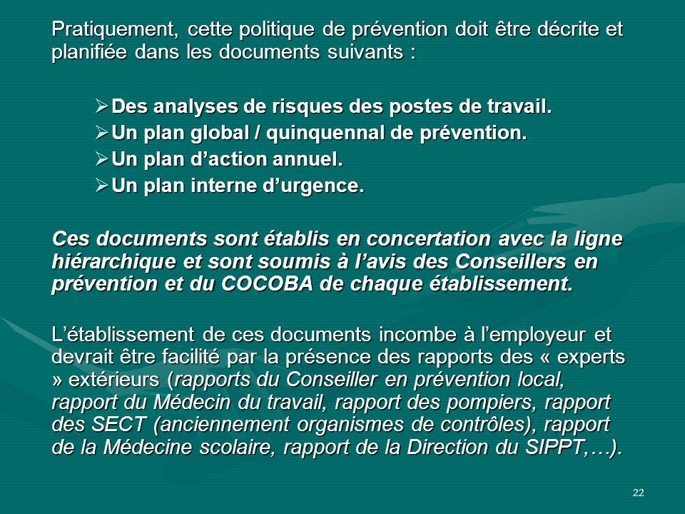 22 Pratiquement, cette politique de prévention doit être décrite et planifiée dans les documents suivants :  Des analyses de risques des postes de tr