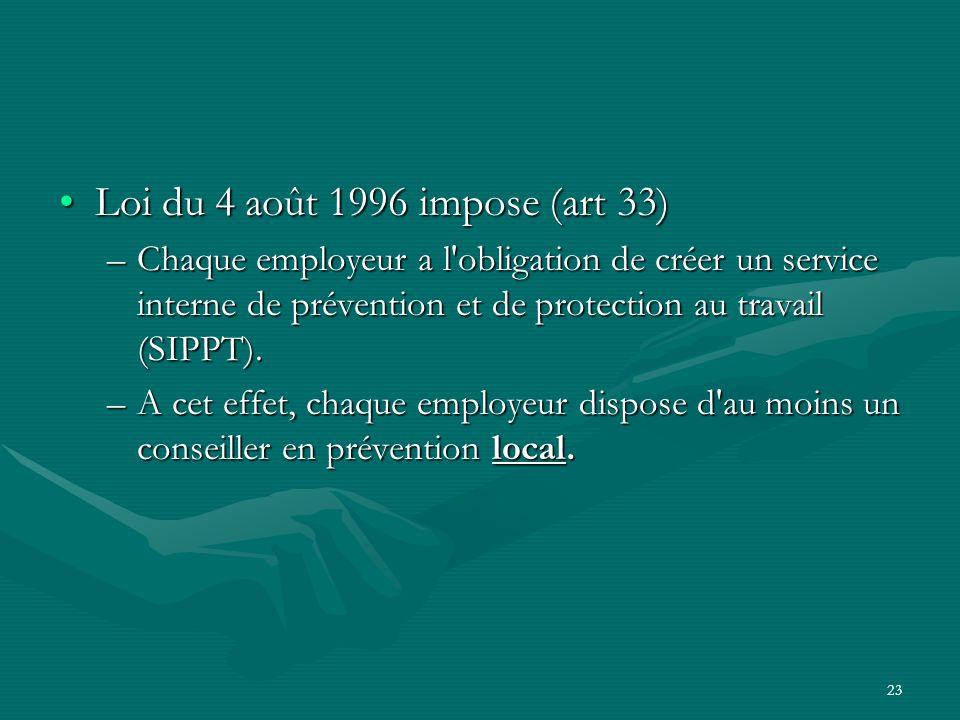 23 Loi du 4 août 1996 impose (art 33)Loi du 4 août 1996 impose (art 33) –Chaque employeur a l'obligation de créer un service interne de prévention et